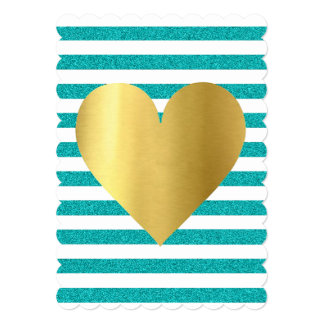 Tiffany Teal Blue Shimmer Stripes Party Invitation