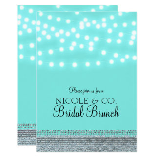 Tiffany Turquoise Blue String Lights & Bling Card
