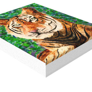 Tiger Acrylic Painting Canvas Print