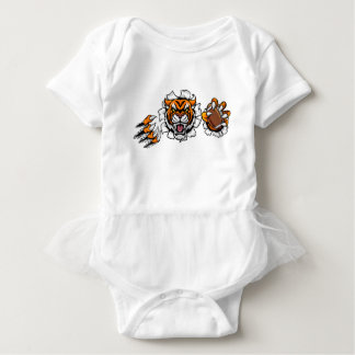 Tiger American Football Ball Breaking Background Baby Bodysuit