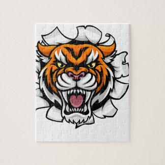 Tiger American Football Ball Breaking Background Jigsaw Puzzle