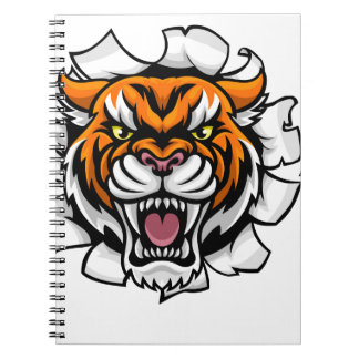 Tiger American Football Ball Breaking Background Notebook