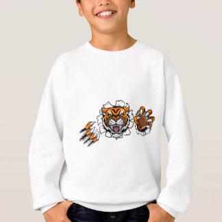 Tiger American Football Ball Breaking Background Sweatshirt