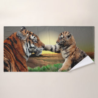 Tiger and Cub Digital Edition Bathroom Towel Set