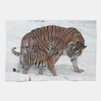 Tiger and cub in snow beautiful photo, gift kitchen towel