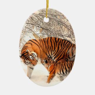 Tiger and cub - tiger ceramic ornament