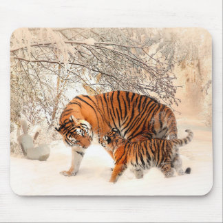 Tiger and cub - tiger mouse pad