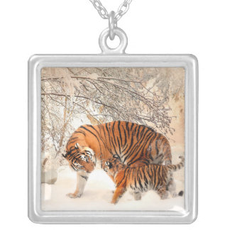 Tiger and cub - tiger silver plated necklace