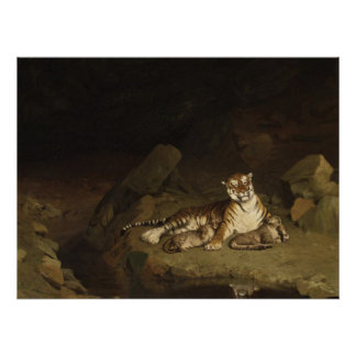 Tiger and Cubs Jean-Leon Gerome 1884 Poster