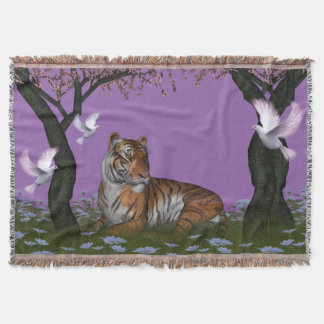 Tiger and Doves Throw Blanket