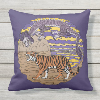 Tiger and Dragon Outdoor Pillow