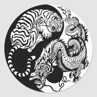 Tiger And Dragon Yin/Yang Classic Round Sticker