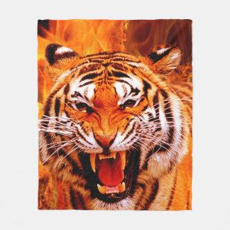 Tiger and Flame Fleece Blanket