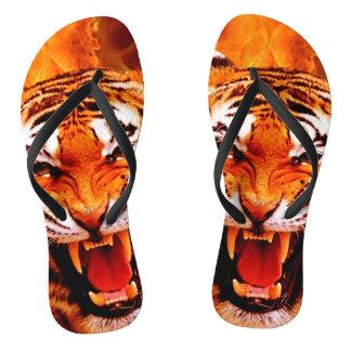 Tiger and Flame Flip Flops