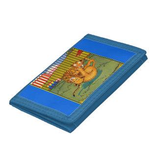 tiger and leopard wrestling tri-fold wallet