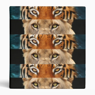 Tiger and Lion eyes Photo 3 Ring Binder