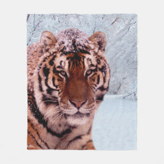 Tiger and Snow Fleece Blanket