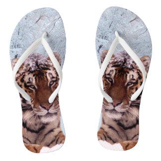 Tiger and Snow Flip Flops