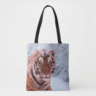 Tiger and Snow Tote Bag
