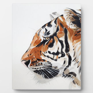 Tiger Animal Nature Painting Watercolor Profile Plaque
