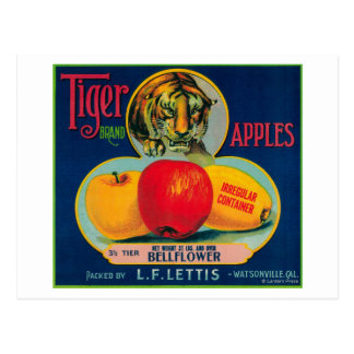 Tiger Apple Crate LabelWatsonville, CA Postcard
