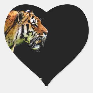 Tiger Approaching - Wild Animal Artwork Heart Sticker