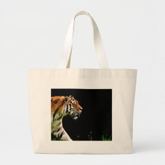 Tiger Approaching - Wild Animal Artwork Large Tote Bag