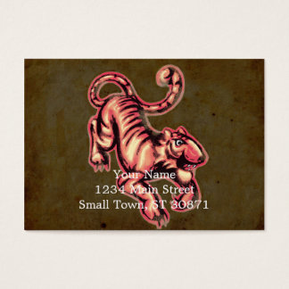 Tiger Baby Painting Cartoon Salmon Brown Business Card