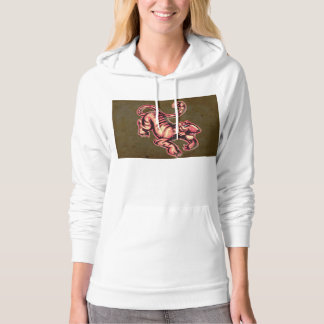 Tiger Baby Painting Cartoon Salmon Brown Hoodie