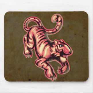 Tiger Baby Painting Cartoon Salmon Brown Mouse Pad