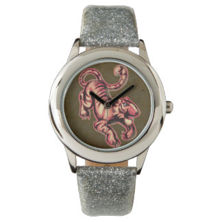 Tiger Baby Painting Cartoon Salmon Brown Wrist Watch
