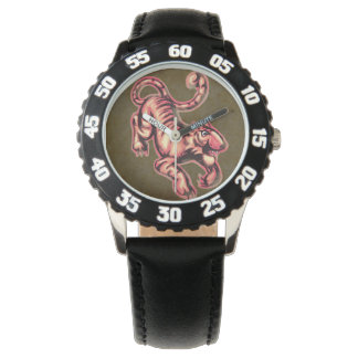 Tiger Baby Painting Cartoon Salmon Brown Wrist Watches