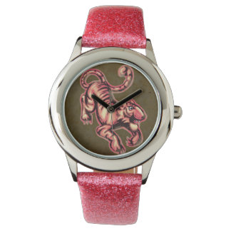 Tiger Baby Painting Cartoon Salmon Brown Wristwatch
