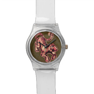 Tiger Baby Painting Cartoon Salmon Brown Wristwatch