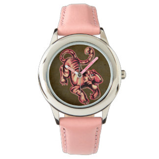 Tiger Baby Painting Cartoon Salmon Brown Wristwatches