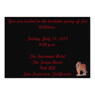 """Tiger Bachelor Party Card 5"""" X 7"""" Invitation Card"""