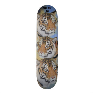 tiger big cat realist portrait art painting skateboard deck