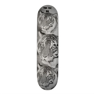 tiger big cat realist portrait painting monochrome skateboard deck