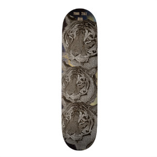 tiger big cat realist portrait painting monochrome skateboard deck