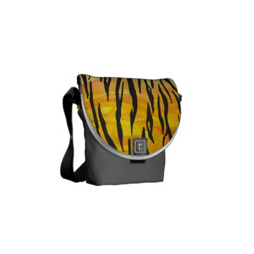Tiger Black and Orange Print Courier Bags