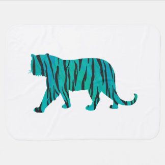 Tiger Black and Teal Print Receiving Blankets