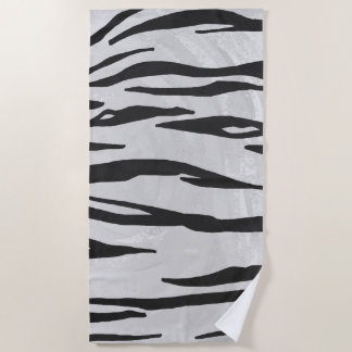 Tiger Black and White Art Beach Towel