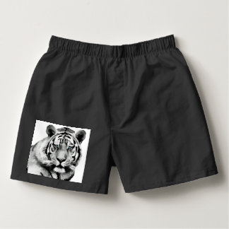 Tiger Black and White Blue eyes Boxers