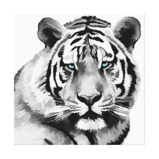 Tiger Black and White Blue eyes Canvas Print