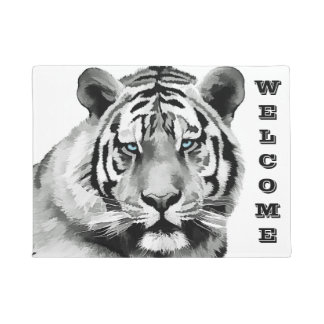 Tiger Black and White Blue eyes Doormat