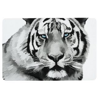 Tiger Black and White Blue eyes Floor Mat