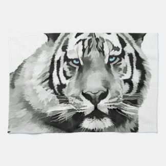 Tiger Black and White Blue eyes Kitchen Towel