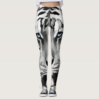 Tiger Black and White Blue eyes Leggings