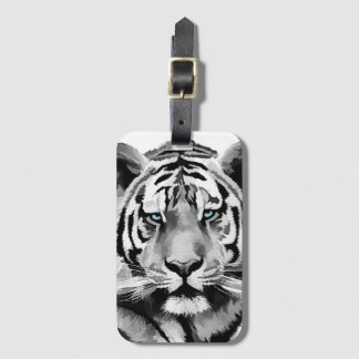 Tiger Black and White Blue eyes Luggage Tag