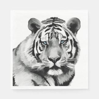 Tiger Black and White Blue eyes Napkin